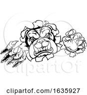 Poster, Art Print Of Bulldog Sports Mascot Tearing Through Background