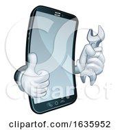 Poster, Art Print Of Mobile Phone Repair Spanner Thumbs Up Cartoon