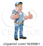 Poster, Art Print Of Handyman Hammer Cartoon Man Diy Carpenter Builder