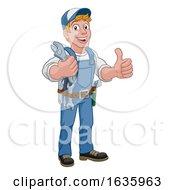 Poster, Art Print Of Mechanic Plumber Wrench Spanner Cartoon Handyman