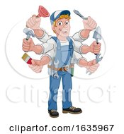 Poster, Art Print Of Handyman Cartoon Tools Caretaker Construction Man