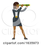 Telescope Spyglass Woman Business Concept