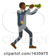 Telescope Spyglass Character Business Concept