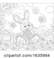 Poster, Art Print Of Black And White Bunny Rabbit Sitting With An Easter Egg