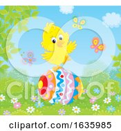 Poster, Art Print Of Yellow Chick On An Easter Egg