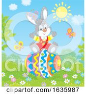 Bunny Rabbit On A Giant Easter Egg