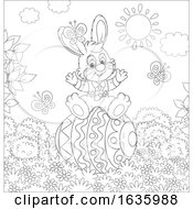 Poster, Art Print Of Black And White Bunny Rabbit On A Giant Easter Egg