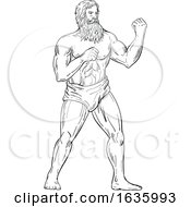 Bearded Boxer Fighting Stance Drawing Black And White
