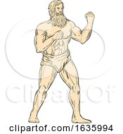 Hercules In Boxer Fighting Stance Drawing Color by patrimonio