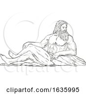 Heracles Reclining Side Drawing Black And White