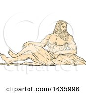 Hercules Reclining Looking To Side Drawing by patrimonio