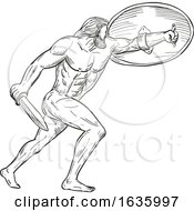 Heracles With Shield And Sword Drawing Black And White
