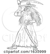 Ankou Graveyard Watcher With Scythe Drawing Black And White