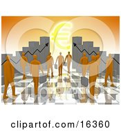 Group Of Orange People Carrying Briefcases Towards An Entrance Framed By Bar Graph Charts With A Euro Symbol Shining Like The Sun Clipart Illustration Graphic