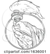03/22/2019 - Hand Holding Statue Of Liberty Torch Drawing Black And White
