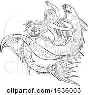 Poster, Art Print Of Mermaid Fighting A Sea Serpent Drawing Black And White