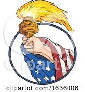 Poster, Art Print Of Hand Holding Liberty Torch Drawing Color