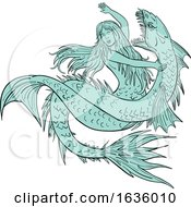 Poster, Art Print Of Mermaid Grappling With Sea Serpent Drawing Color