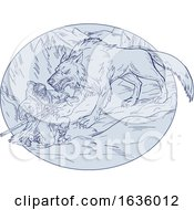 Fenrir Attacking Norse God Odin Drawing Color