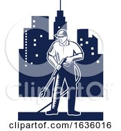 Retro Woodcut Pressure Washer Worker In A City