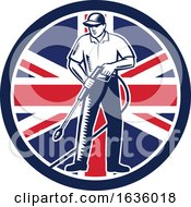 Poster, Art Print Of Retro Woodcut Pressure Washer Worker Over A Uk Circle