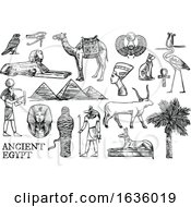 Black And White Sketched Ancient Egyptian Icons