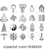 Black And White Buddhism Icons