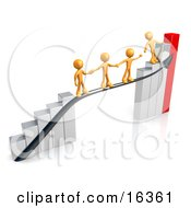 Orange Person Standing On A Silver And Red Bar Graph Chart Reaching Back To Assist Others Up To The Top