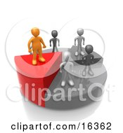 Successful Orange Person Standing On A High Slice Of A Pie Chart While Other Grey People And Slices Stand Below Clipart Illustration Graphic