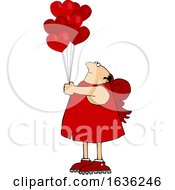 Cartoon Chubby Cupid With Valentines Day Heart Balloons
