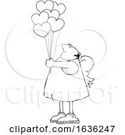 Cartoon Black And White Chubby Cupid With Valentines Day Heart Balloons