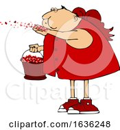Cartoon Chubby Cupid Blowing Valentines Day Heart Confetti by djart