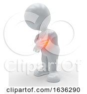 3D Figure Holding His Elbow In Pain