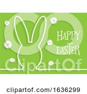 Poster, Art Print Of Easter Background With Bunny Outline And Daisies