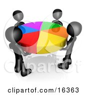 Group Of Four Black People Holding A Colorful Pie Chart Clipart Illustration Graphic