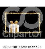 Poster, Art Print Of 3d Gift In A Glitter Frame On Black