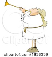 Poster, Art Print Of Cartoon White Male Angel Playing A Trumpet