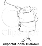 Cartoon Black And White Male Angel Playing A Trumpet