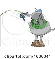 03/25/2019 - Cartoon Dog Wearing A Fishing Vest And Holding A Pole
