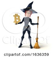 3d Sexy Blue Witch Holding A Bitcoin Symbol On A White Background by Julos
