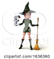 3d Sexy Green Witch Holding A Lira On A White Background by Julos