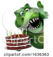 3d Green T Rex Dinosaur On A White Background