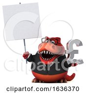 3d Red Business T Rex Dinosaur On A White Background
