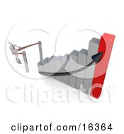 Businessman Standing In Line And Waiting For His Turn To Climb To Success And Up A Silver And Red Bar Graph Chart