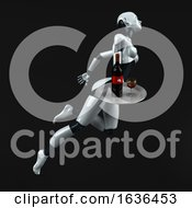 3d Feminine Robot On A Black Background