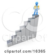 Successful Blue Perosn Standing On Top Of A Silver Bar Graph Chart And Holding A 1 Sign