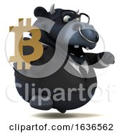 3d Black Business Bull Holding A Bitcoin Symbol On A White Background by Julos