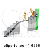 Orange Person Standing On A Silver And Green Bar Graph Chart Reaching Back To Assist Another Person Up To The Top