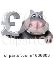 3d Hippo Holding A Lira On A White Background