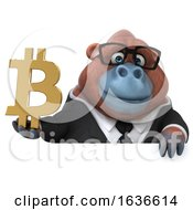 3d Business Orangutan Monkey Holding A Bitcoin Symbol On A White Background by Julos